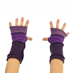 Kids Arm Warmers in Purple Aster Segmented Sleeves by mirabeans