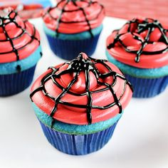 Easy Spiderman Cupcakes These Easy Spiderman Cupcakes are simple to make for a superhero birthday party or movie night with a boxed cake mix and a few other supplies.