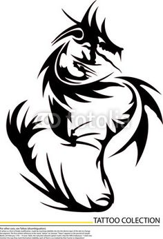 Vector: black dragon fire on white background,tattoo