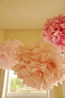 Tissue flower balls for decorations...collecting ideas for my nieces 1st bday already...okay so I still have 5 months but its never to early, a girl only turns one once! :-)