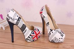 Fashion Women THE British Flag THE M Word Pattern High Heeled Shoes 14cm | eBay