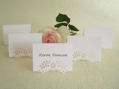 100 Blank Wedding Placecards - Eyelet Lace Tent Place Cards, Escort Card, Wedding Reception, Rehearsal Dinner, Name Card Name Place Cards, Wedding Place Cards, Wedding Paper, Diy Wedding, Card Wedding, Wedding Ideas, Wedding Stationery, Wedding Bells, Wedding Rehearsal