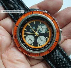 70s Nivada Grenchen Three Registers Diver Chronograph W/ Valjoux Cal. 72 Movement photo