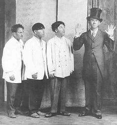 Moe, Larry, Shemp with Ted Healy. Yes, Shemp was the original third Stooge, but he left the act and Curly took over. Shemp came back after Curly's stroke.