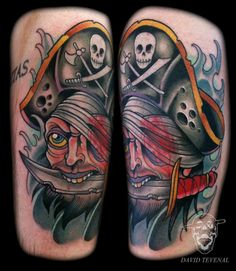Today's featured artist is David Tevenal, who works out of Memento Tattoo & Gallery in Columbus, Ohio. Tevenal has bright vivid tattoos that go along the more. Pirate Tattoo, I Tattoo, Tattoo Flash, Body Mods, Pirates, Tatting, Ink, Ship Tattoos, My Style