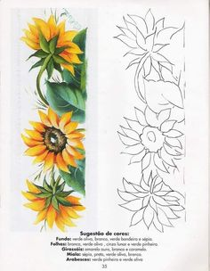 Flower Art Drawing, Flower Drawing Tutorials, Sunflower Drawing, Sunflower Art, Tole Painting, Fabric Painting, Hand Embroidery Designs, Embroidery Patterns, Painting Patterns
