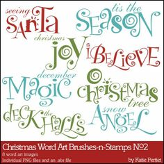 Christmas Word Art Brushes and Stamps No. 02- Katie Pertiet Brushes- DS862758- DesignerDigitals