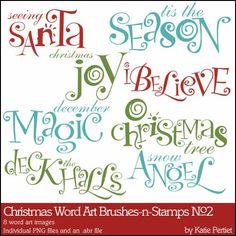 Christmas Word Art Brushes and Stamps No. 02- Katie Pertiet Brushes- DS862758- DesignerDigitals