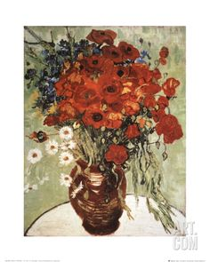 Vase with Daisies and Poppies Art Print by Vincent van Gogh at Art.com