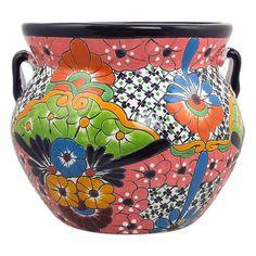 Ceramic flower pot, 'Guanajuato Garden' (13 inch) - Talavera Style Ceramic Handcrafted 13 Inch Flower Pot