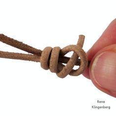 Finishing the knot for Adjustable Sliding Knot Necklace - tutorial by Rena Klingenberg                                                                                                                                                      More