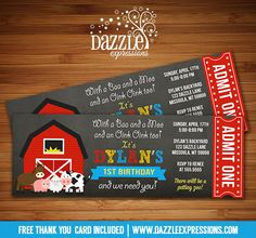 Printable Barnyard Chalkboard Ticket Birthday Invitation | Farm Animals | Petting Zoo | Barn Yard | Digital File | Kids Birthday Party Idea or for any event | FREE thank you card | Party Package Available |  Banner | Cupcake Toppers | Favor Tag | Food and Drink Labels | Signs |  Candy Bar Wrapper | www.dazzleexpressions.com