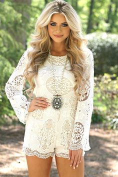 Turning in Circles White Lace Romper - Wedding Romper - Engagement Pictures Outfit - Honeymoon Outfit Party Dresses For Women, Trendy Dresses, Nice Dresses, Long Romper, Long Sleeve Romper, Summer Romper, Dress Summer, Summer Outfits, White Lace Romper