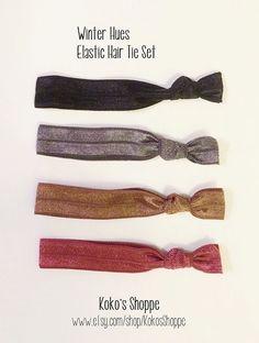 Winter Hues Elastic Hair Tie Set by KokosShoppe on Etsy