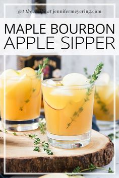 Maple Bourbon Apple Sipper - Sweet apples lend their flavor to this invigorating boozy beverage with a touch of maple syrup to warm the bourbon flavor. Bourbon Mixed Drinks, Mixed Drinks Alcohol, Bourbon Cocktails, Fun Cocktails, Cocktail Drinks, Apple Cocktails, Bourbon Slush, Brunch Drinks, Easy Drink Recipes
