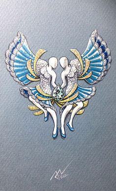 #azilaz #brooch #lady #handdrawing #handsketch #jewelry #designer #designerjewelry #Butterfly #dance