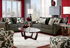 Living Room Set - Grey & Red i have this furniture and was considering doing it with red lol