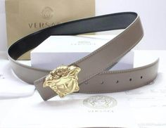 Versace Belt with Medusa Head Buckle Grey