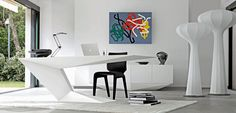 Small desk, structure in lacquered MDF (many colors of lacquer available) or in Alpi veneer, col. Anthracite grey. Cable duct included.