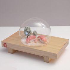すしドーム  哀愁マグロ 家族 - ネコずし SHOP ~ Sushi dome with Maguro sushi family by Nekozushi
