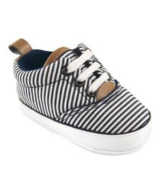 $7.99 marked down from $11.99! White & Navy Stripe Canvas Sneaker Booties on #zulily! #zulilyfinds