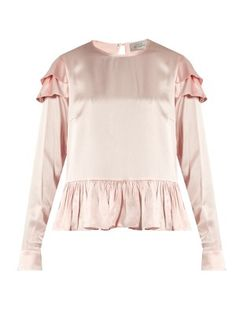 Cherry ruffle-trimmed silk blouse  | Preen By Thornton Bregazzi…