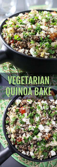 This Vegetarian Quinoa Bake is made with roasted vegetables, olive oil and feta cheese. It's very healthy and can be served as a main or a side dish.