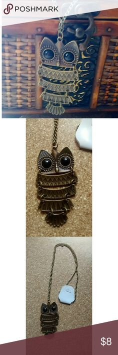 """Owl Neclace Cool Owl Necklace. Brass look. Chain is approximately 29"""" long. Pendant is approximatelely 2 1/2 inches long. Item is in brand new condition. Jewelry Necklaces"""