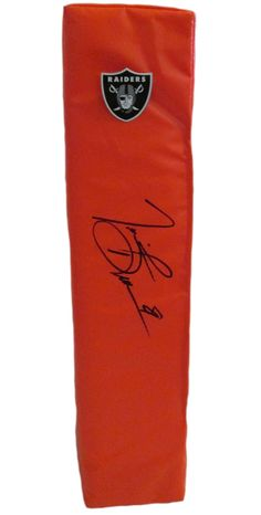 Tim Brown signed Oakland Raiders full size football touchdown end zone pylon w/ proof photo.  Proof photo of Tim signing will be included with your purchase along with a COA issued from Southwestconnection-Memorabilia, guaranteeing the item to pass authentication services from PSA/DNA or JSA. Free USPS shipping. www.AutographedwithProof.com is your one stop for autographed collectibles from Oakland sports teams. Check back with us often, as we are always obtaining new items.