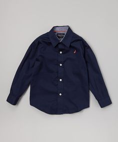 Nautica Peacoat Blue Button-Up - Toddler & Boys | Something special every day