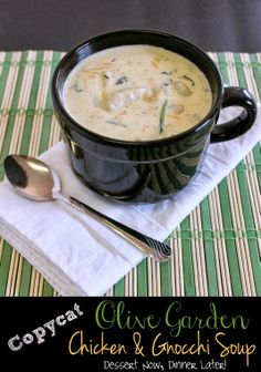 Copycat Olive Garden Chicken & Gnocchi Soup - Creamy soup with tender chicken & plump gnocchi dumplings from DessertNowDinnerLater.com #copycat #recipe