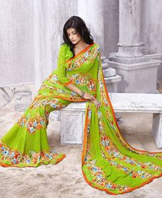 Buy Stunning Green Casual Sarees online at  https://www.a1designerwear.com/stunning-green-casual-sarees  Price: $22.38 USD
