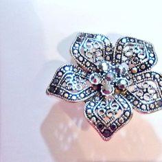 Brooch pin in box faux marcasite filigree gunmetal rhinestones #Unbranded