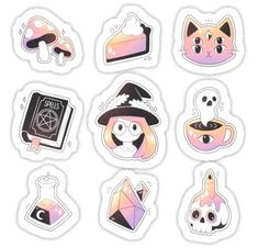 Buy 'Witch Stickers' by theoceanowl as a Sticker, Transparent Sticker, or Glossy Sticker Kawaii Stickers, Cool Stickers, Printable Stickers, Kawaii Drawings, Cute Drawings, Arte Do Kawaii, Japon Illustration, Macbook Stickers, Tumblr Stickers