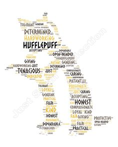 Harry Potter Hogwarts House Word Cloud by JustSayinCollection - Hufflepuff
