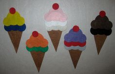 Felt Ice Cream Scoops Counting & Colors Primary Colors Flannel Board Story plus a Vanilla Ice Cream Scoop. $7.00, via Etsy.