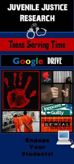 Teens serving time. Is this true justice or a travesty? Go digital with this Google Apps compatible research project! Teach high school research with a topic that captivates teens – juvenile justice. Juvenile Justice Research: Teens Serving Time can be easily implemented in ELA and Social Studies. Use as a short term research project to supplement Monster by Walter Dean Myers, In Cold Blood by Truman Capote, and with the Serial podcast!
