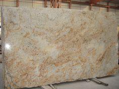 Colonial gold granite Brown Granite Countertops, Granite Backsplash, Granite Slab, Granite Kitchen, Colonial Gold Granite, Miniature Kitchen, Stone Slab, Kitchen Remodel, Hardwood Floors