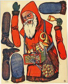 Weihnachtsmann Mit Spielzeug 66 cm Ziehfigur Hampelmann Bastelbogen Reprint 1905 | eBay
