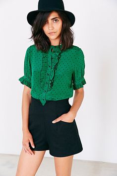 edith and ella ruffle placket blouse. urban outfitters.