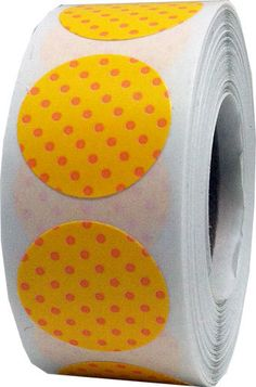 Yellow Stickers with Peach Polka Dots  0.75 Inch by TheDotSpotLane