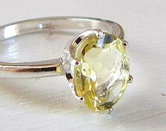 1.66 ct Natural Lemon Quartz Ring in 0.925 Sterling Silver or 14k Gold