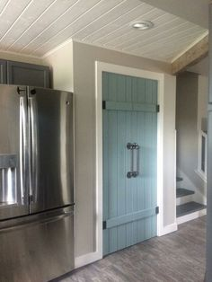 For grove Park 2 bdrm plan for laundry doors in kitchen : Pantry Doors, Annie Sloan Duck Egg Blue. New Kitchen, Kitchen Decor, Kitchen Design, Kitchen Pantry Doors, Kitchen Pantries, Painted Pantry Doors, Sliding Pantry Doors, Barn Door Pantry, Pantry Design