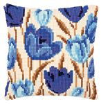 Blue Tulips Cushion Front