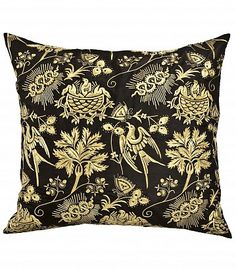 Medieval Colum - Black and Gold - Drawn from late 13th and early 14th century brocades and woven Sicilian textiles, the Medieval group is the most labor intensive. Fictional and symbolic beasts and animals are masterfully hand embroidered on canvas and silk - Lost City
