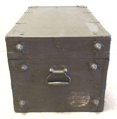 Vintage US Military Army Brown X-Ray Equipment Foot Locker Trunk Storage Box | eBay