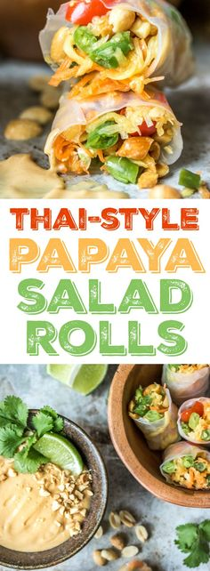 Whenever I go out for Thai food I always find myself in an internal battle between two delicious appetizers: papaya salad, or fresh rolls. Not anymore, my friends. Now, we have PAPAYA SALAD ROLLS. Thai Recipes, Asian Recipes, Whole Food Recipes, Vegetarian Recipes, Cooking Recipes, Healthy Recipes, Papaya Salat, Healthy Snacks, Healthy Eating
