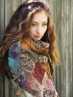 """Knit shawl """"Marshy woodlands"""" (knitted shawl, handmade wrap, knitting wool shawl, knit patchwork, entrelac)"""