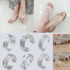 10pcs 925 Sterling Silver Adjustable Toe Ring Summer Beach Jewellery Finger Ring
