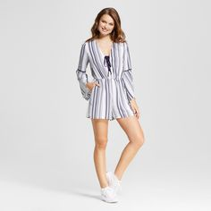 Women's Stripe Bell Sleeve Lace Up Romper - XOXO (Juniors') Multicolor